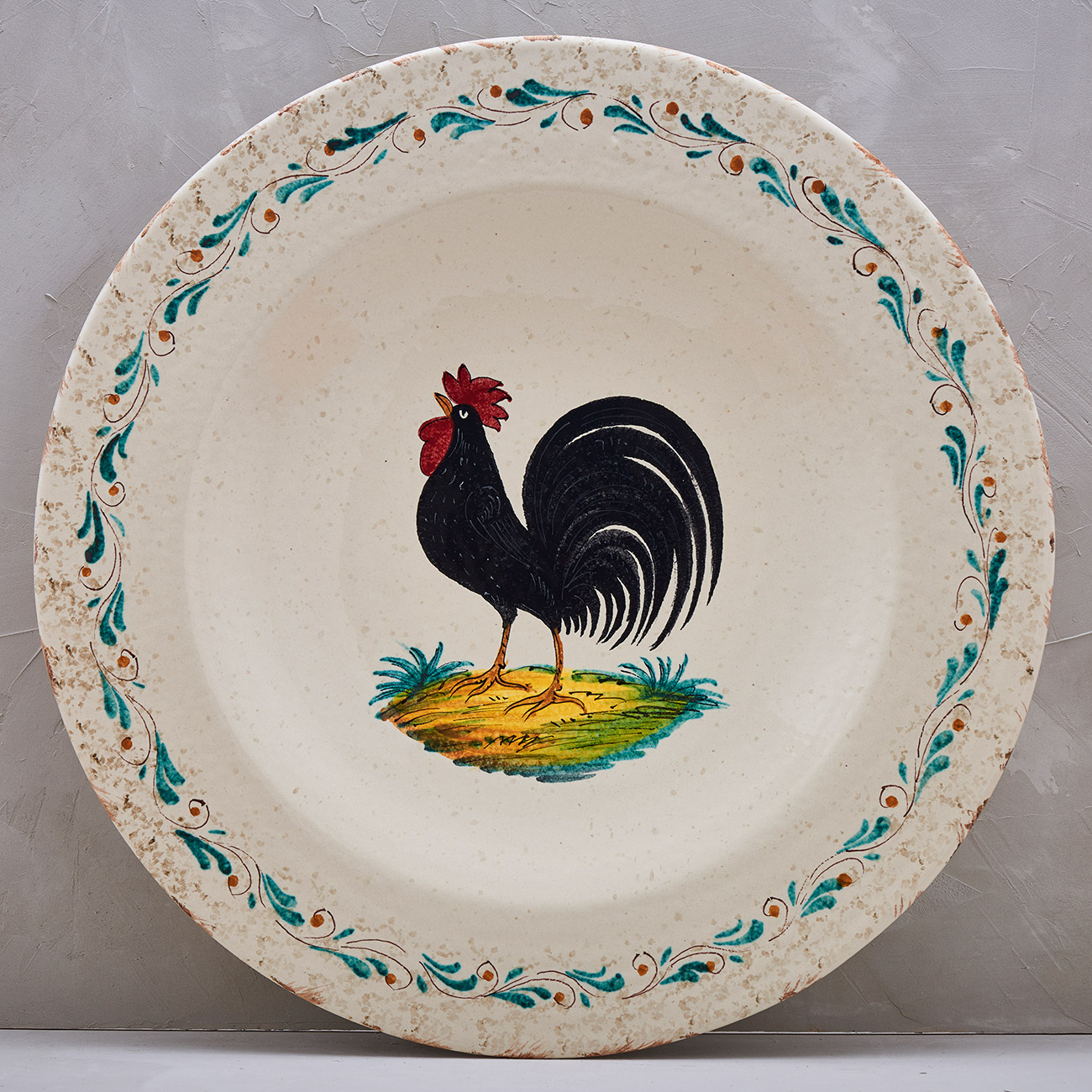 Black Rooster Plate - 52 cm 1