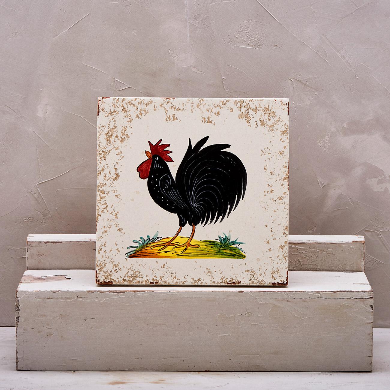 Black Rooster Tile - 20 x 20 cm 1