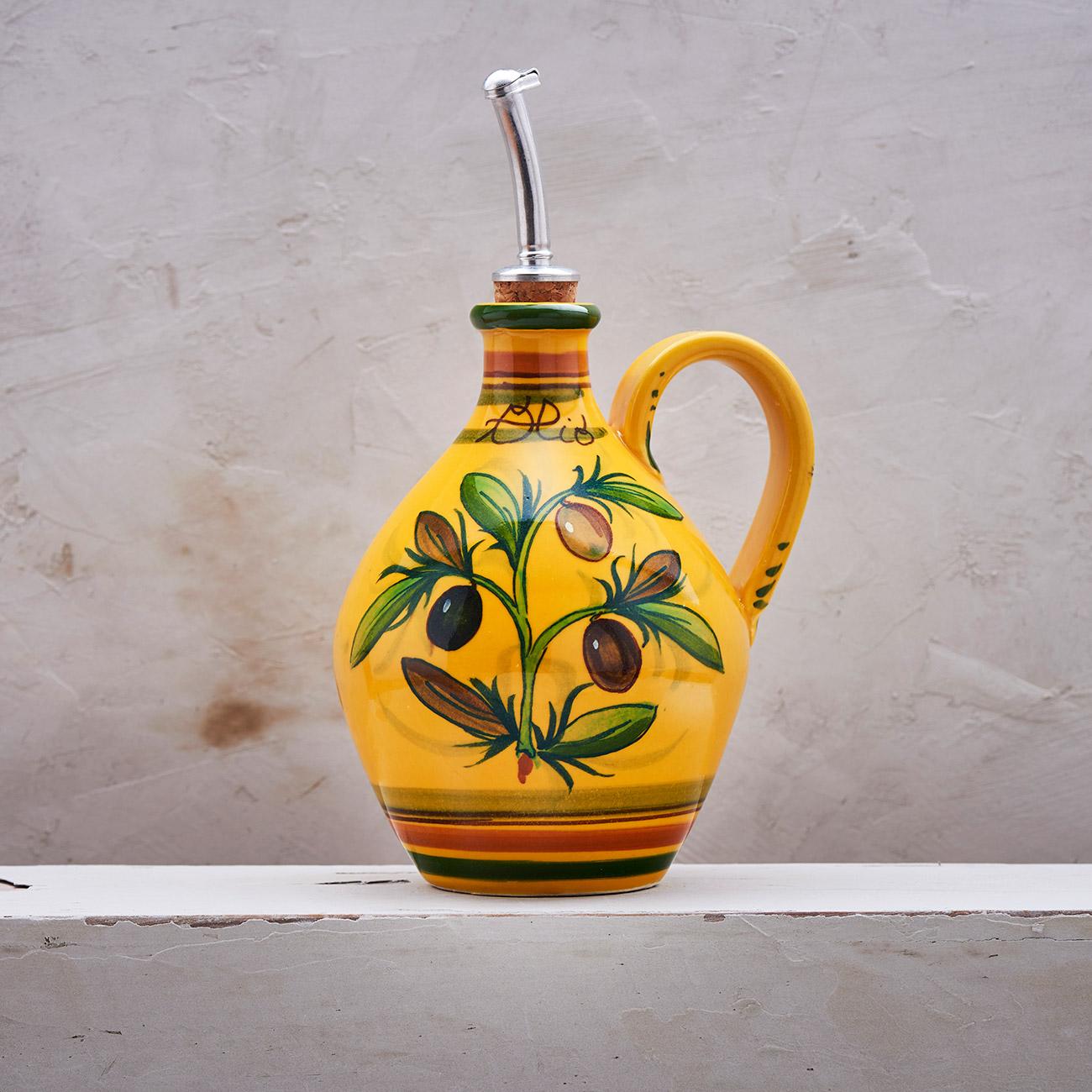 Yellow Olive Tree Oil cruet