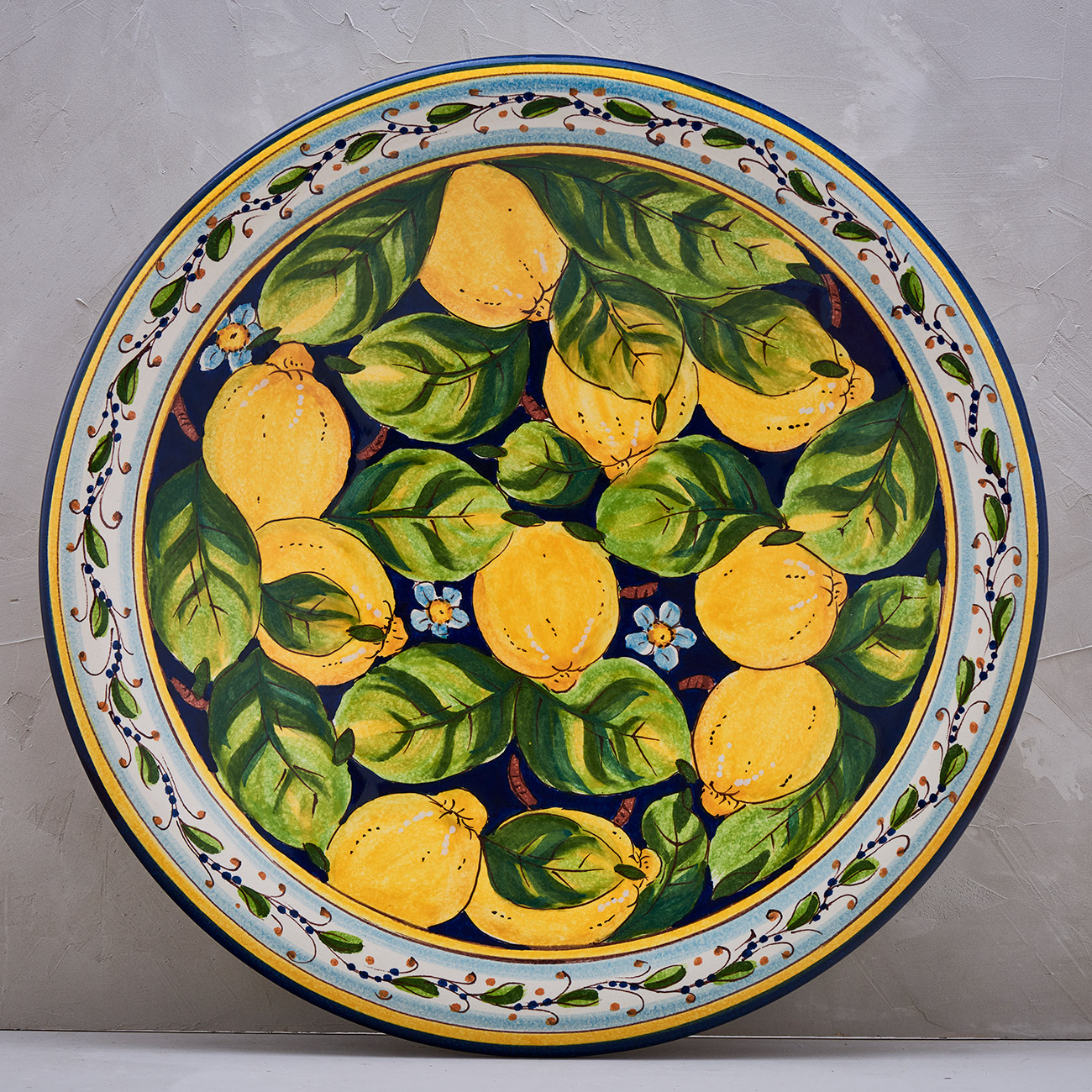 Lemon Plate Blue background - 52 cm 1