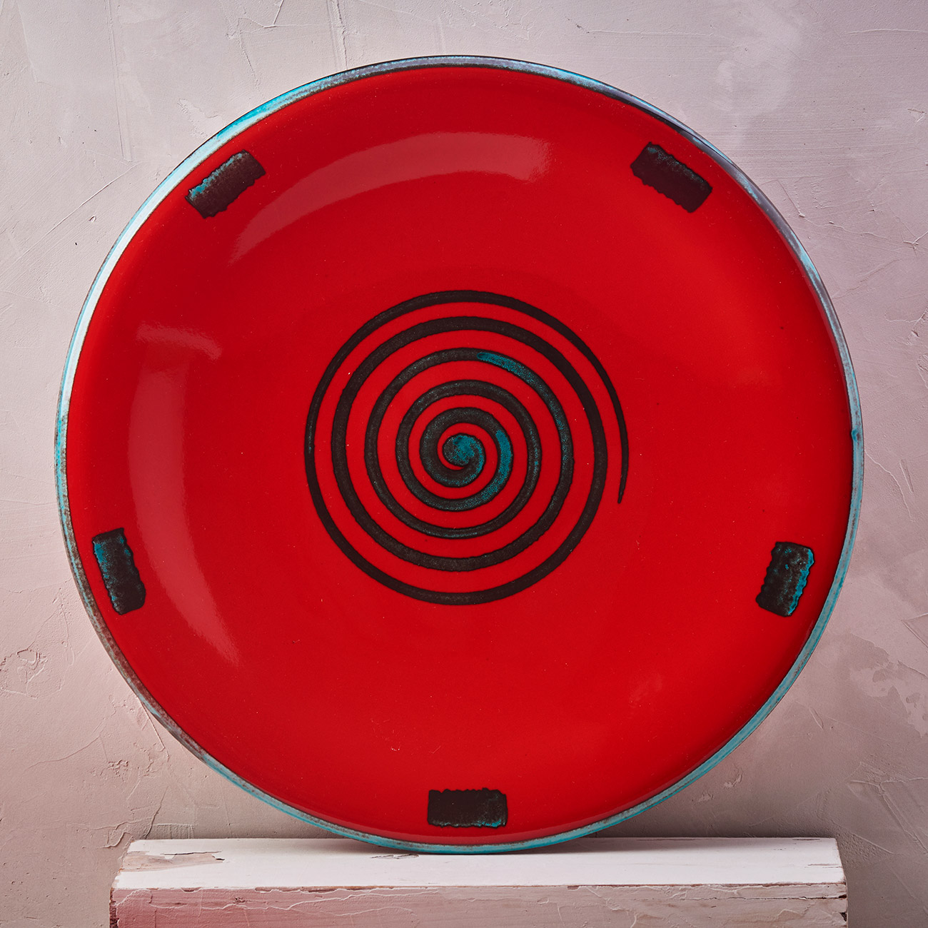 Red Spiral Plate - 42 cm 1