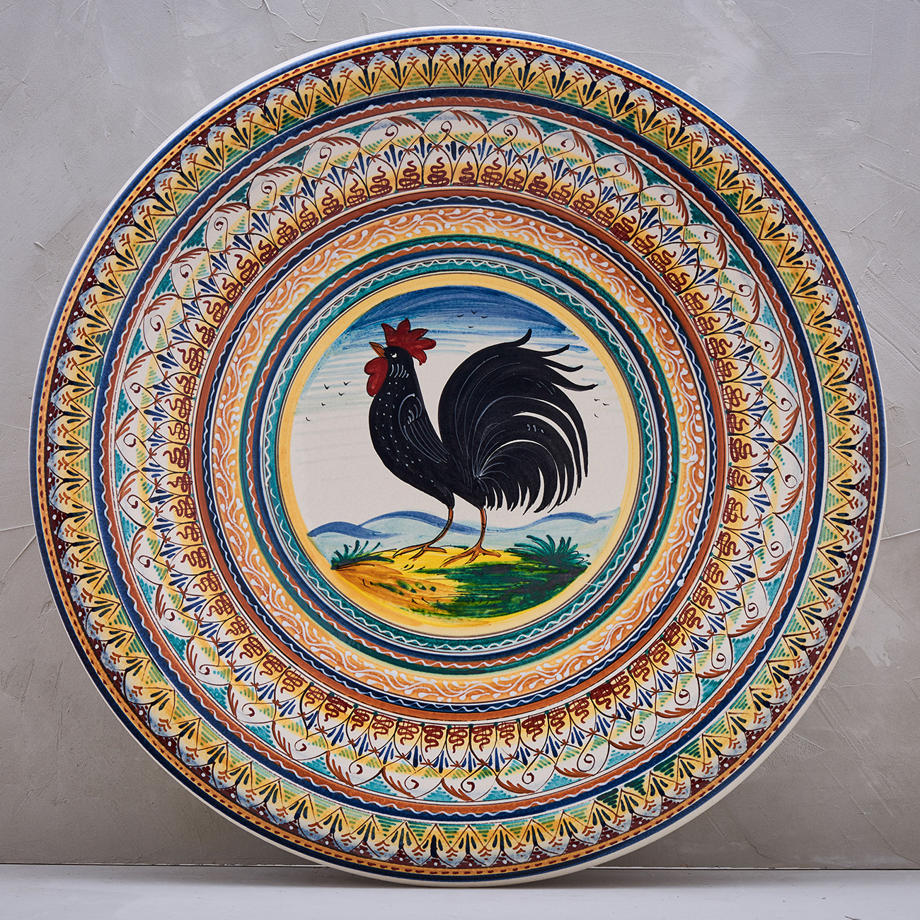 Black Rooster Plate with frame - 52 cm