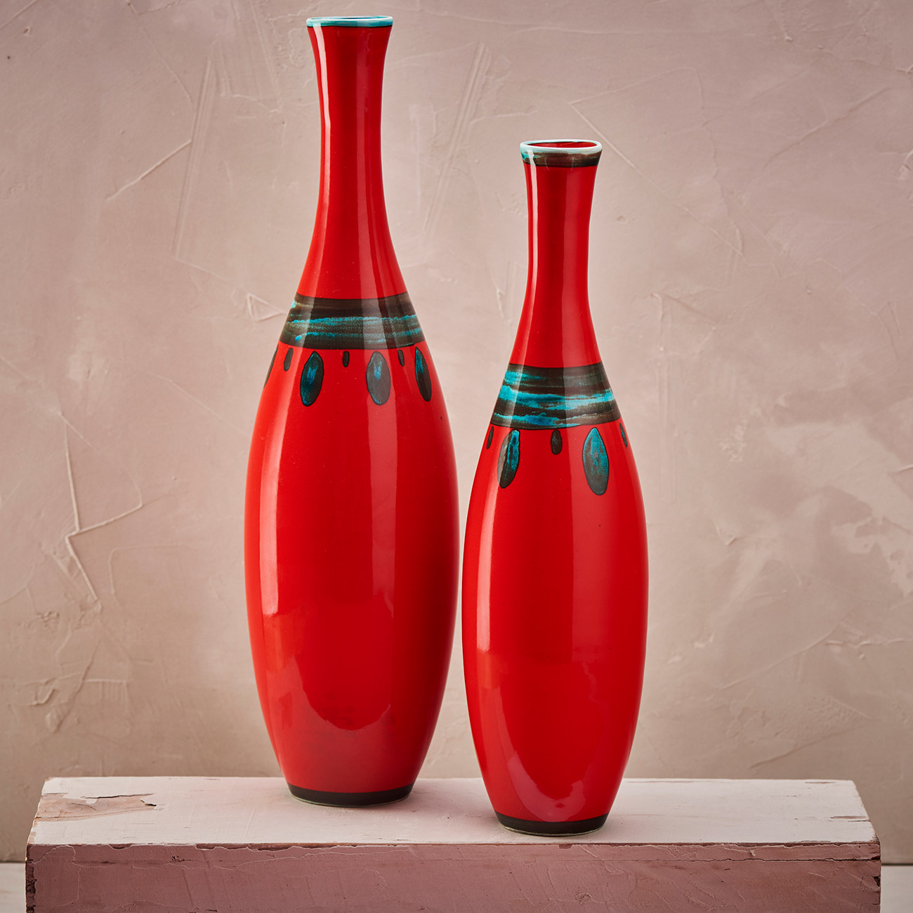 Set Two Red Bottles - 9 x 35/8 x 30 cm 1