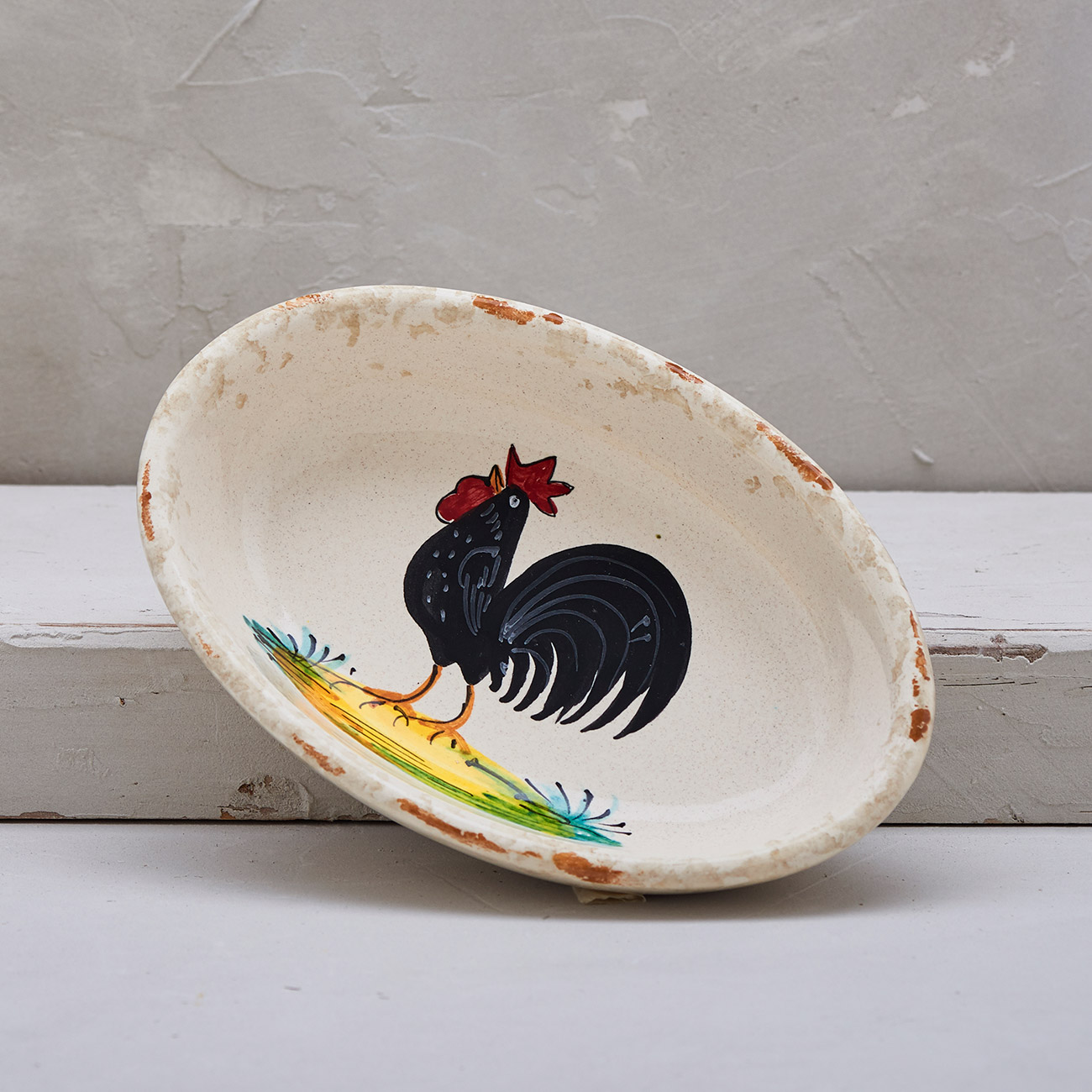 Black Rooster Oval bowl 1