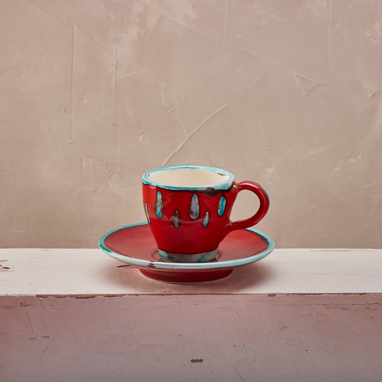 Red Coffee cup with saucer 1