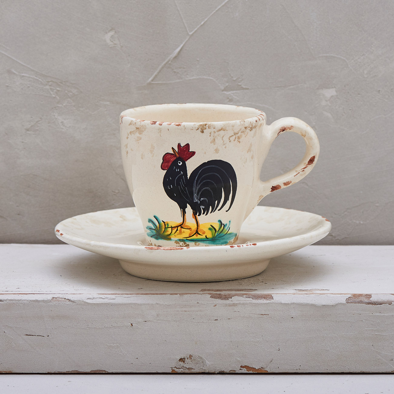 Black Rooster Coffee cup with saucer 1