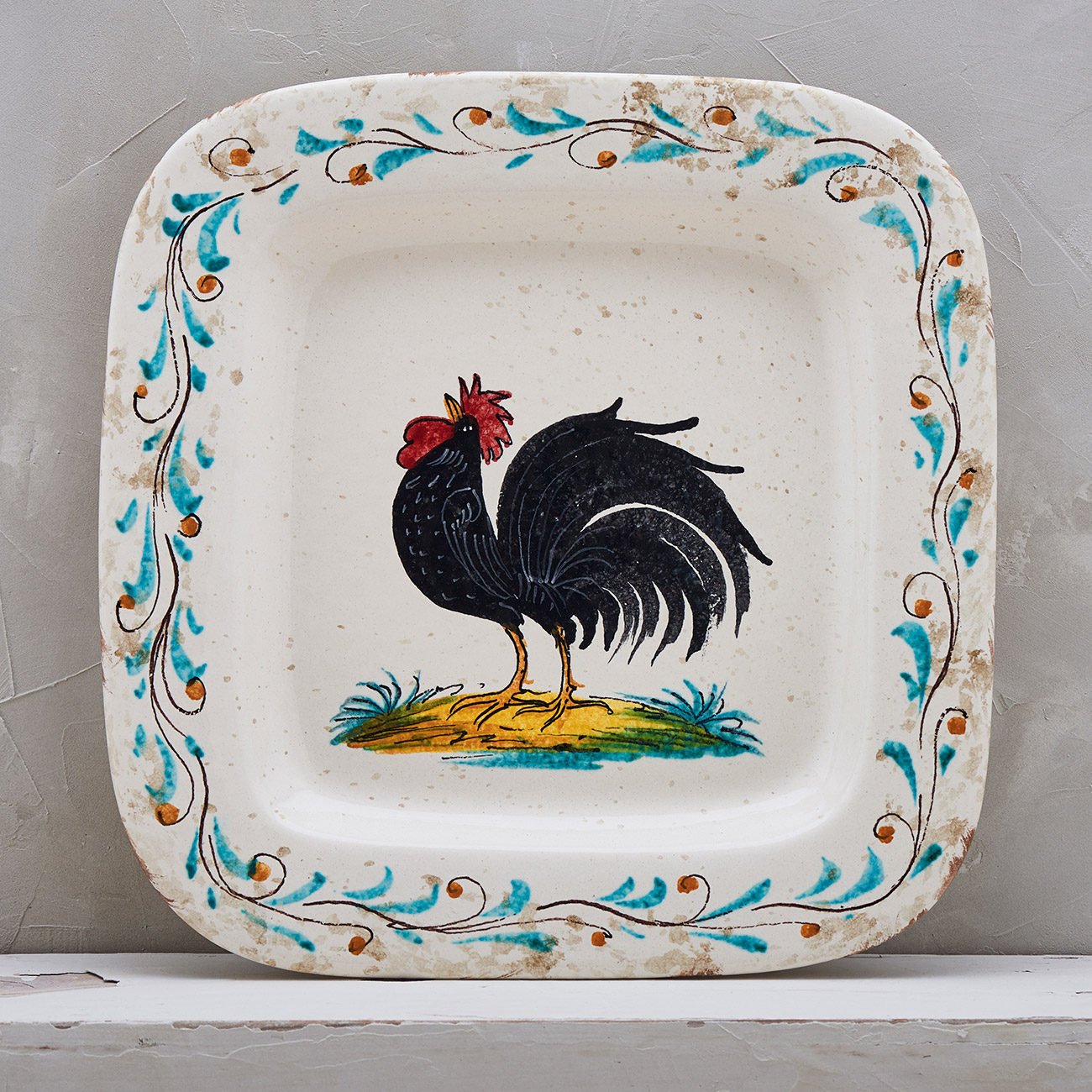 Black Rooster Tray - 28 x 28 cm 1