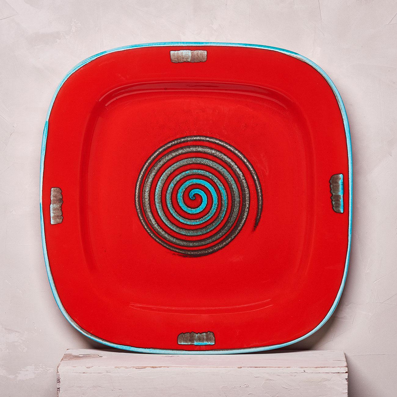 Red Spiral Tray - 40 x 40 cm 1