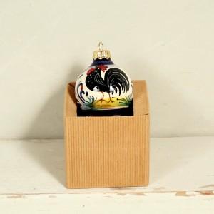Palla natalizia Gallo Nero - 6 cm