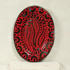 "Vassoio Rosso ""Raji"" - 43 x 37 cm"