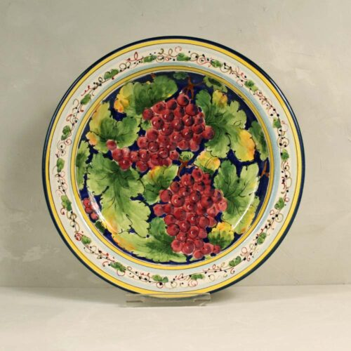 Red Grapes Plate Blue background - 31 cm