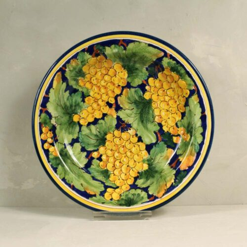 Yellow Grapes Plate Blue background - 31 cm