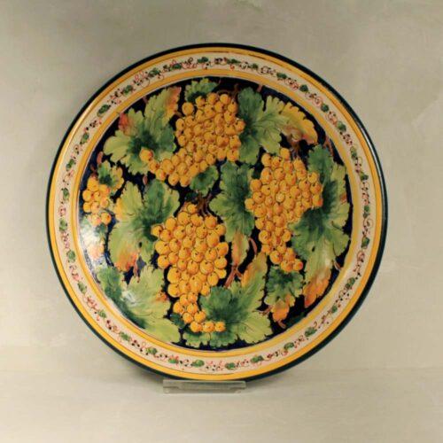 Yellow Grapes Plate  con fondo blu - 41 cm