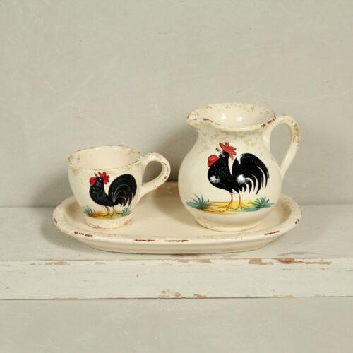 Set Black Rooster Cup & Milk Jug