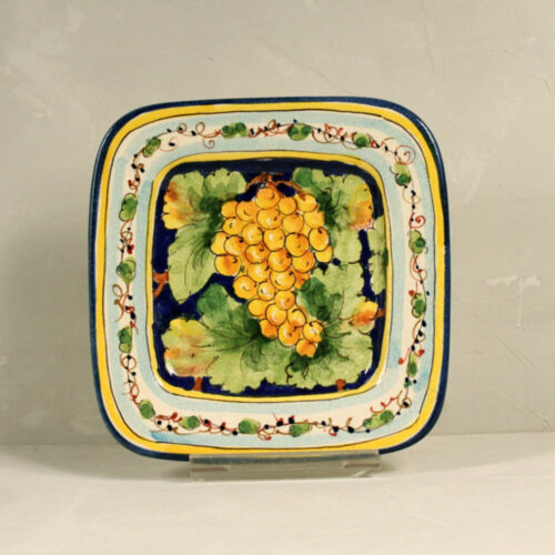 Yellow Grapes Tray Blue background - 18 x 18 cm
