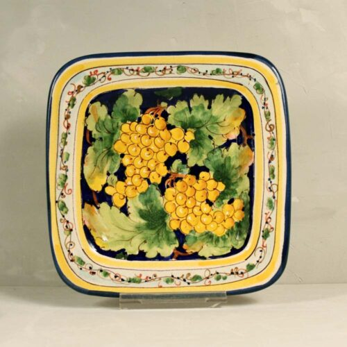 Yellow Grapes Tray Blue background - 22 x 22 cm